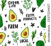 seamless pattern with eco farm...   Shutterstock .eps vector #1537224437