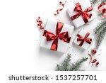 christmas fir branches  gift... | Shutterstock . vector #1537257701