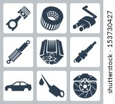 vector car parts icons set | Shutterstock .eps vector #153730427