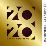 happy new year gold card.... | Shutterstock .eps vector #1537354484