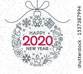 2020 christmas ball consisting...   Shutterstock .eps vector #1537387994