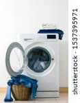 close up washing machine and... | Shutterstock . vector #1537395971