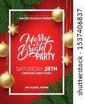 christmas party poster design.... | Shutterstock .eps vector #1537406837