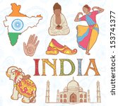 indian colorful set of symbols... | Shutterstock .eps vector #153741377