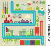 flat style design eco city... | Shutterstock .eps vector #153743945