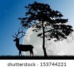 illustration with pine and deer ... | Shutterstock .eps vector #153744221
