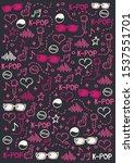 k pop hand draw doodle... | Shutterstock .eps vector #1537551701