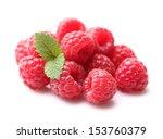 Raspberry with melissa plant - stock photo