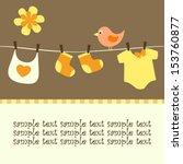 Stock vector baby line and bird happy card 153760877