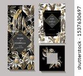 wedding invitation with golden...   Shutterstock .eps vector #1537630697