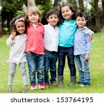 Happy Group Children Together Park - Fine Art prints