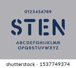 stencil letters and numbers set....   Shutterstock .eps vector #1537749374