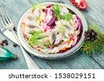 Stock photo traditional winter salad with beets and herring food for christmas 1538029151