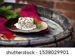 Stock photo herring tartar with mayonaise red pepper and dill 1538029901