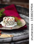 Stock photo herring tartar with mayonaise red pepper and dill 1538029904