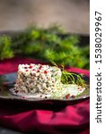 Stock photo herring tartar with mayonaise red pepper and dill 1538029967