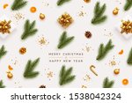 merry christmas and happy new... | Shutterstock .eps vector #1538042324