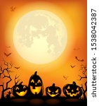 halloween background with scary ... | Shutterstock .eps vector #1538042387