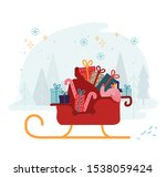 woman riding in santa claus... | Shutterstock .eps vector #1538059424
