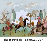 Horsemen and oasis. Persian frescoes. Travel of heroes. Ancient civilization murals. Ottoman Empire. Fairy tales and legends of the Middle East. Medieval miniature. Mughal art