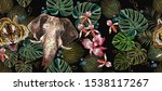embroidery tiger  elephants ... | Shutterstock .eps vector #1538117267