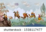 persian frescoes. soldiers and... | Shutterstock .eps vector #1538117477