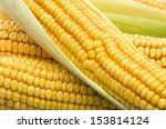 fresh corn cobs close up on a...   Shutterstock . vector #153814124