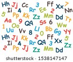 pattern of colored letters and... | Shutterstock .eps vector #1538147147