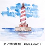 Watercolor Lighthouse In The Sea