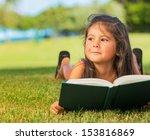 cute little girl reading book... | Shutterstock . vector #153816869