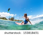 young man kiteboarding  fun in... | Shutterstock . vector #153818651