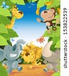 fun jungle animals border.  | Shutterstock . vector #153822539