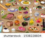 food set  different  kitchen ... | Shutterstock .eps vector #1538228834