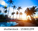 beautiful sunset at a beach... | Shutterstock . vector #153831299