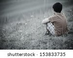sad lonely kid | Shutterstock . vector #153833735