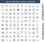 100 restaurant icons. trendy... | Shutterstock .eps vector #1538381957