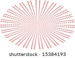 A spiral elliptical pattern of paired red dots. - stock photo