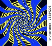 Yellow bullseye with blue ribbons spiraling towards the center - stock photo