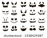 halloween pumpkin faces icons.... | Shutterstock .eps vector #1538429387