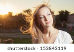 blowing wind in the hairs  ... | Shutterstock . vector #153843119