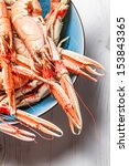 Closeup of cooked scampi pincers - stock photo