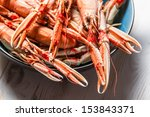 Freshly cooked langoustines as a seafood dish - stock photo