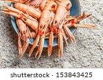 Fresh langoustines served on the beach - stock photo