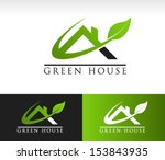 green roof house logo icon with ...