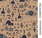 vintage tribal seamless pattern ... | Shutterstock .eps vector #1538454764