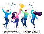 the business team celebrates... | Shutterstock .eps vector #1538495621