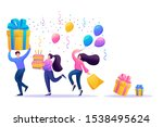 holiday party with friends.... | Shutterstock .eps vector #1538495624