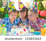 kids celebrating birthday party ... | Shutterstock . vector #153852665