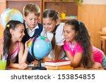 portrait of cute schoolchildren ... | Shutterstock . vector #153854855