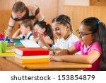 portrait of happy diligent... | Shutterstock . vector #153854879
